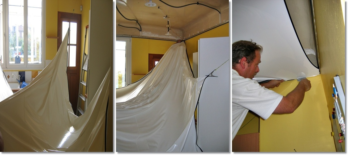 Toile tendu plafond pose id e inspirante pour la conception de la maison for Plafond tendu prix